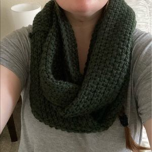 Knit Dark Green Infinity Scarf